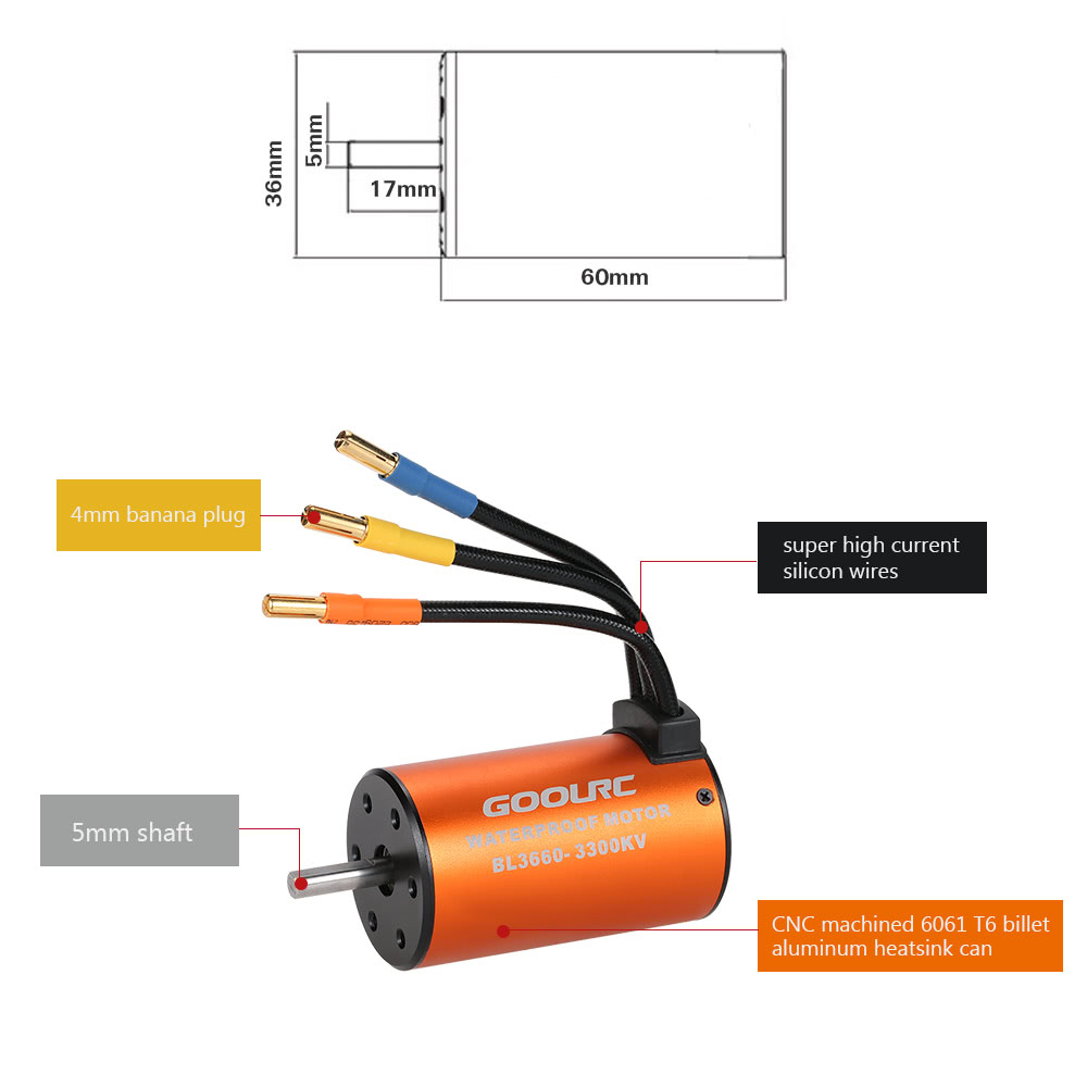 Goolrc Upgrade Waterproof 3660 3300kv Brushless Motor With 60a Esc Mouse Cable Wire Diagram Combo Set For 1 10 Rc Car Truck