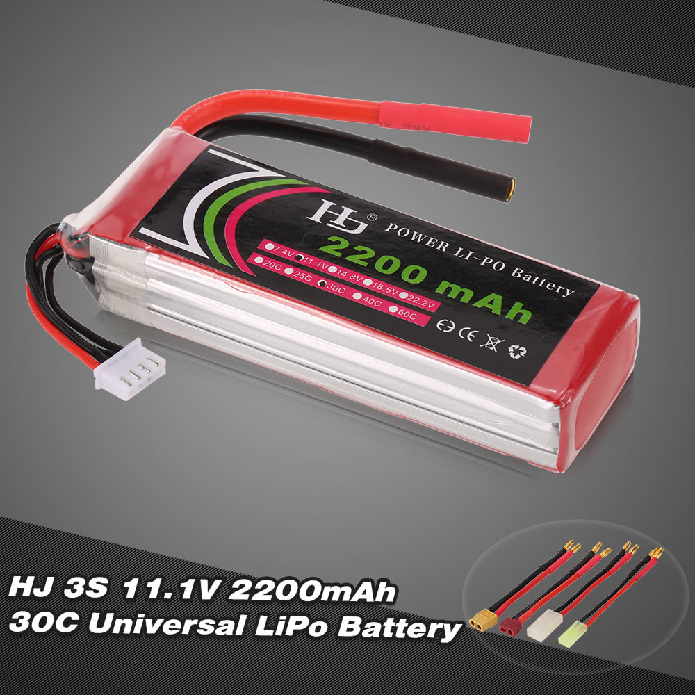 Hj 111v 3s 2200mah 30c Universal Lipo Battery With Xt60 T Plug Lippo Tplug Tamiya Mini For Fpv Racing Quadcopter Rc Car Boat