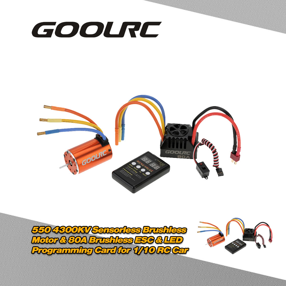 goolrc moteur brushless sensorless de 550 4300kv 80 a brushless esc led programmation carte. Black Bedroom Furniture Sets. Home Design Ideas