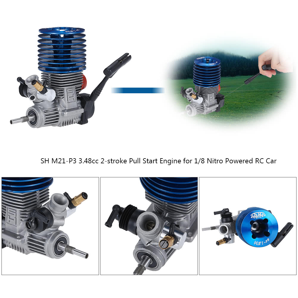 Original SH M21-P3 3 48cc 2-stroke Pull Start Engine for 1/8 Nitro Powered  Buggy Truggy RC Car