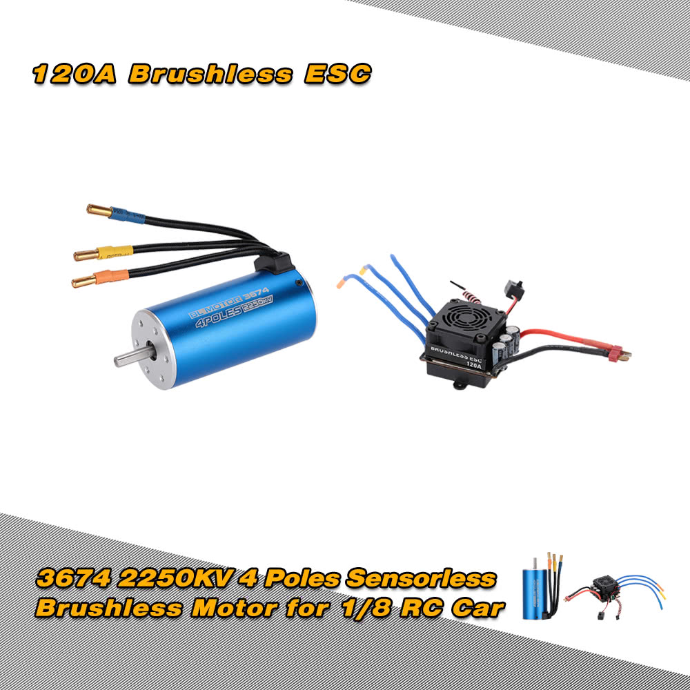 3674 2250KV 4P Sensorless Brushless Motor & 120A Brushless Splash-Proof  Electronic Speed Controller ESC with 5 7V/8A Switch Mode BEC for 1/8 RC Car