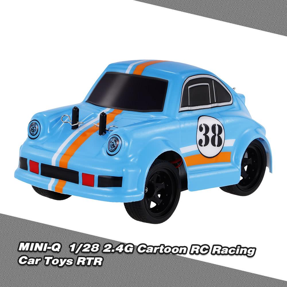 MINI-Q 1/28 2 4G High Speed Brushed Electric QQ Colorful Cartoon RC Racing  Car Toys RTR