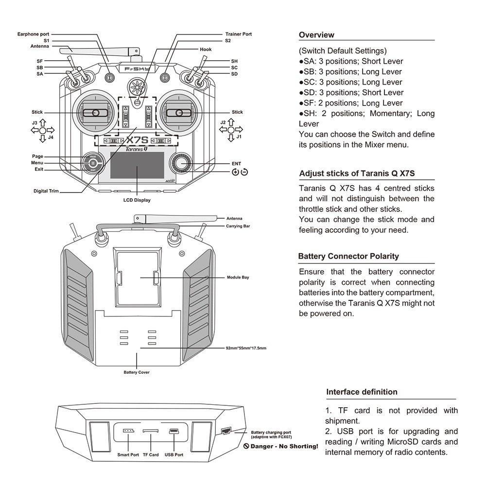 FrSky Taranis Q X7S 16CH Transmitter for Sale - US$282 18 blue eu plug |  Tomtop