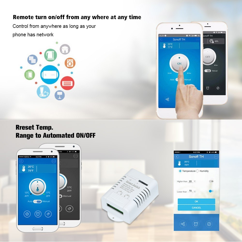 TH-16 Wifi Switch Compatible with Sonoff & EWeLink 16A/3500W Monitoring  Temperature Smart Switch Home Automation Kit Sales Online white - Tomtop