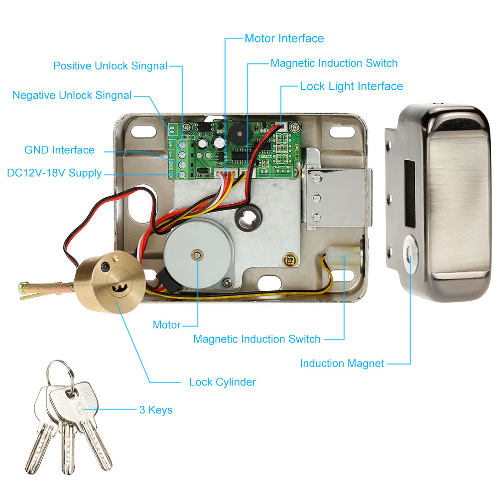 Electric Control Access Mute Lock Door For Doorbell Electrical Wiring Accessories List Package 1 Metal Electronic Core 3 Keys Bag Of Mounting User Manualenglish