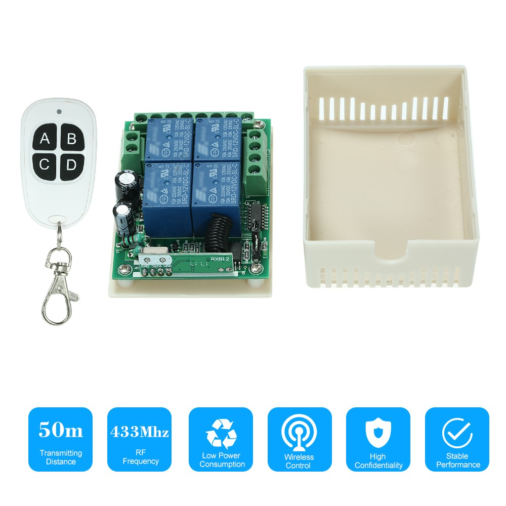 Best 433mhz Dc 12v 4ch Universal Relay Wireless Rf Remote Control 1 Channel 12 V Usb Board Module Controller For Automation Robotics Switch Receiver And 1pcs 4 Key 433 Mhz Transmitter Fixed Code 2262 Chip