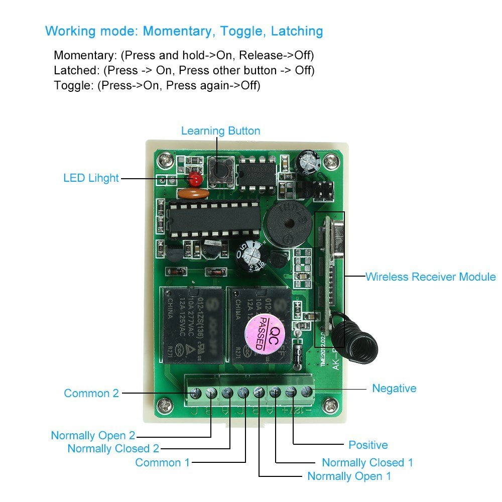 433mhz Dc 12v 2ch Universal 10a Relay Wireless Remote Control Switch Rc Car Wiring Diagram Am Reciver Sales Online 1 Tomtop