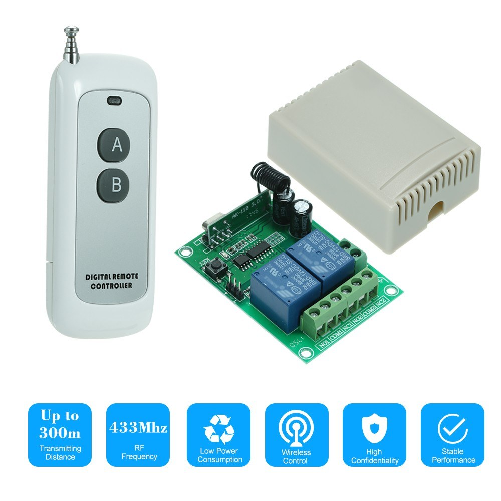 433mhz Dc 12v 2ch Universal 10a Relay Wireless Remote Control Switch Rf Circuit Board Garage Door 315 Sales Online 1 Tomtop