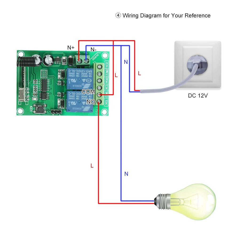 433mhz Dc 12v 2ch Universal 10a Relay Wireless Remote Control Icc Data Module Wiring Diagram Switch