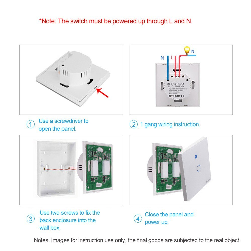 Sonoff T1 Eu 1 Gang Smart Wifi Wall Light Touch Switch Sales Online Wiring Diagram Two Lights