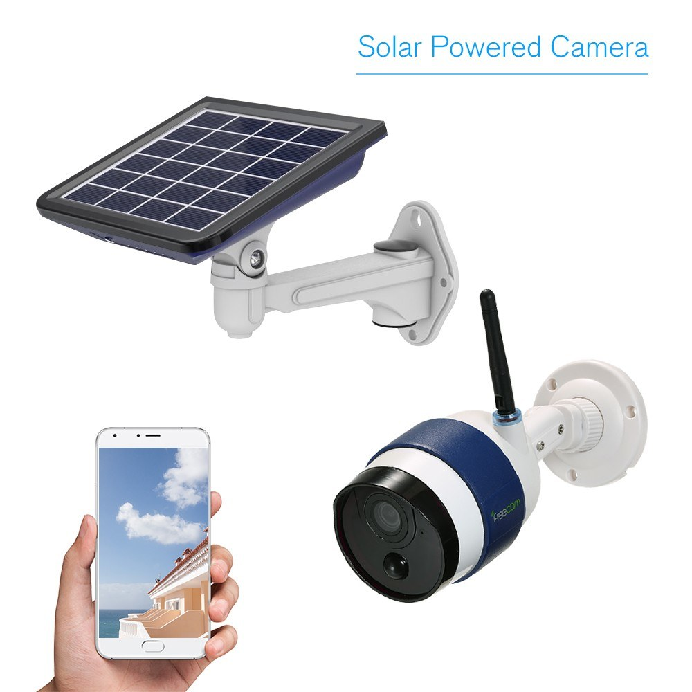 FREECAM C340 Wireless HD 720P WiFi Solar Powered IP Security Camera –  Motion-Activated Bullet / Support Cloud Storage/ One-way Audio/ Record with PIR Motion Sensor / IR Night Vision/ and Waterproof for Outdoor Use