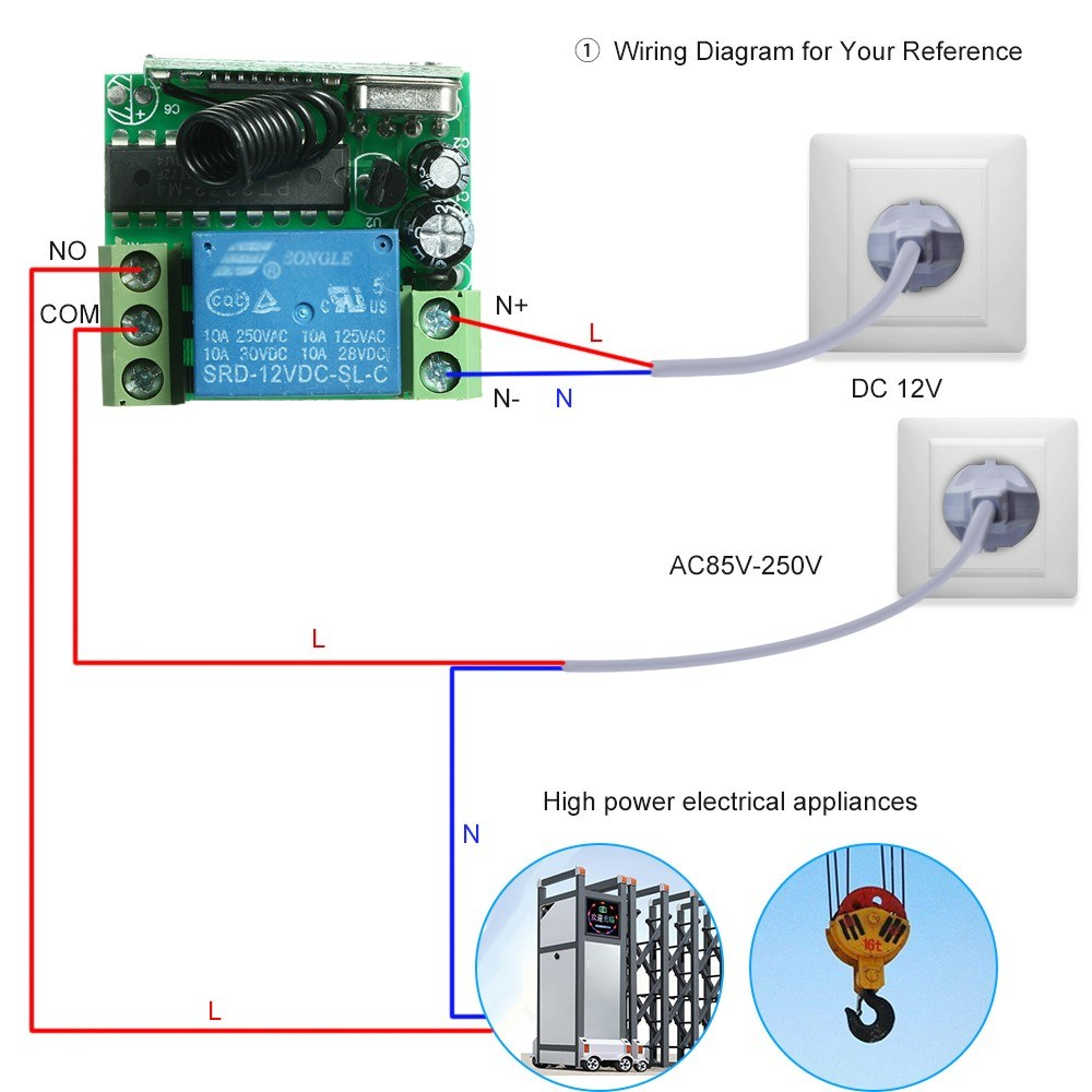 Smart Home Wireless Remote Control Relay Receiver Transmitter Electrical Wiring Diagrams For Homes Universal Switch Sales Online 1 Tomtop