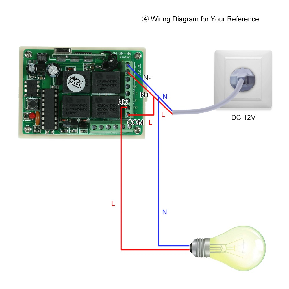 Wireless Remote Control Switch Receiver Module And 1pcs 4 Key Rf 433 Circuit Diagram Based Mhz Transmitter Controls