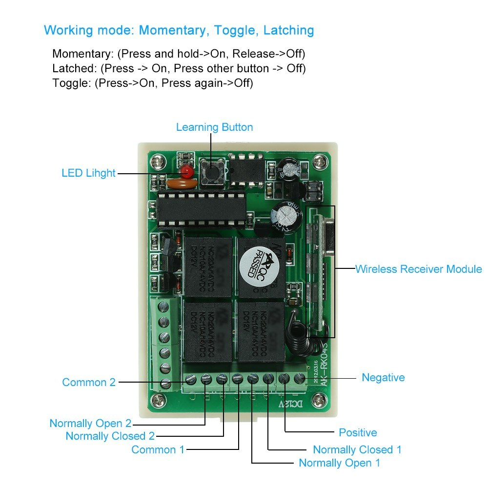 Wireless Remote Control Switch Receiver Module And 1pcs 4 Key Rf 433 Keymemoryinfraredremotecontrolreceivercircuit Mhz Transmitter Controls