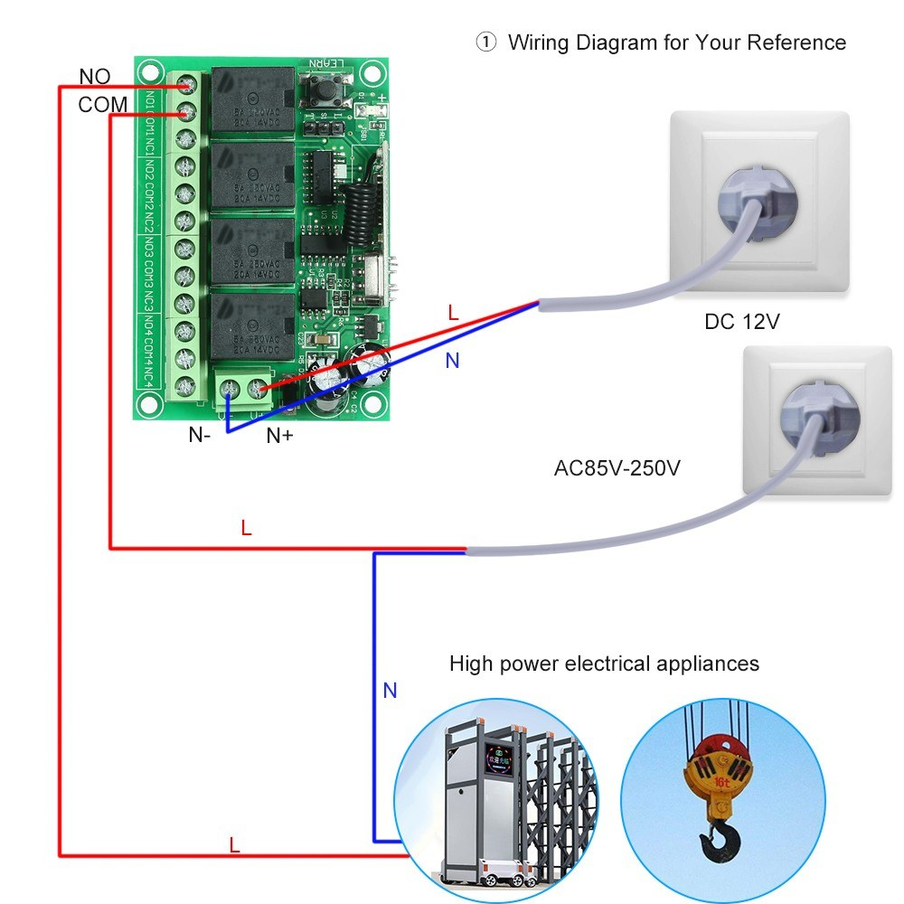 Wireless Remote Control Switch Receiver Module And 1pcs 4 Key Rf 433 Rc Car Wiring Diagram 2ch Am Reciver Mhz Transmitter Controls Sales Online 1 Tomtop