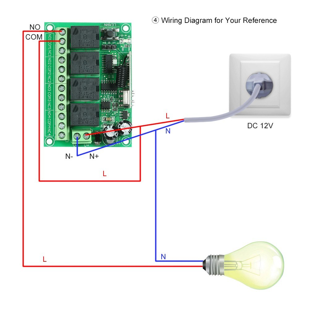Wireless Remote Control Switch Receiver Module And 1pcs 4 Key Rf 433 12v Trailer Wiring Diagram For Fan Light Mhz Transmitter Controls