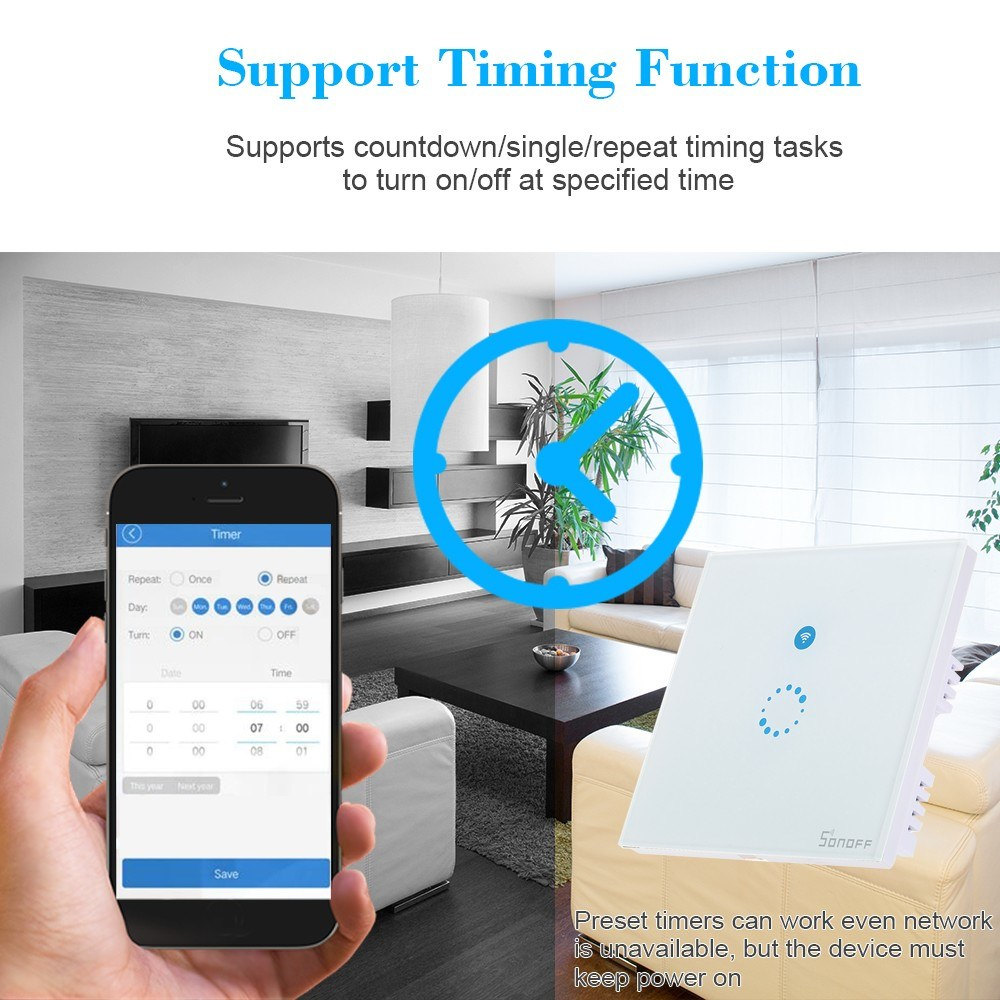 SONOFF T1 1 Gang Smart WiFi Wall Light Switch Sales Online 01# uk plug -  Tomtop