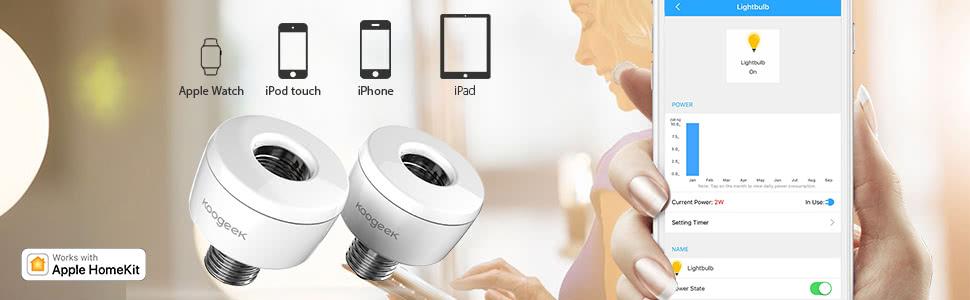 koogeek wi fi aktiviert smart socket e26 gl hbirne adapter monitor power funktioniert mit apple. Black Bedroom Furniture Sets. Home Design Ideas