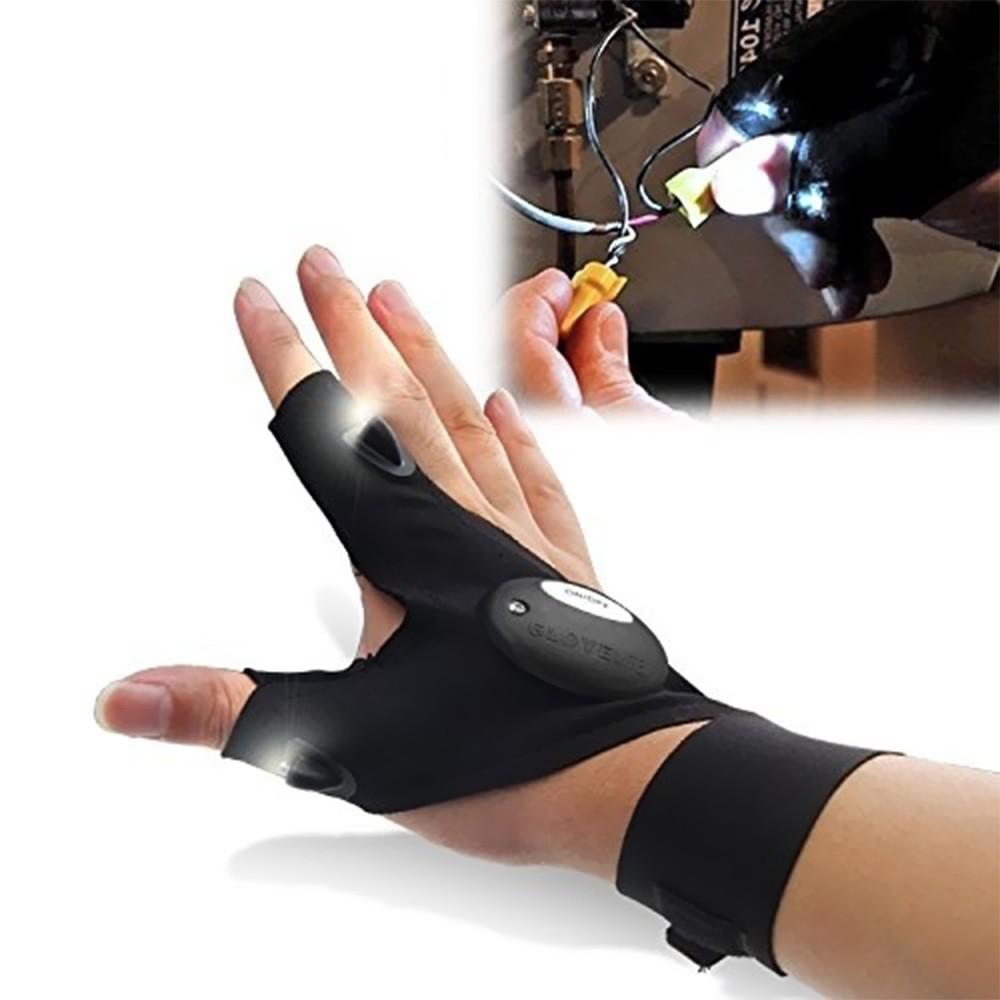 gants d 39 usure de sport en plein air multifonctions deux doigts avec led lumi re de nuit de p che. Black Bedroom Furniture Sets. Home Design Ideas
