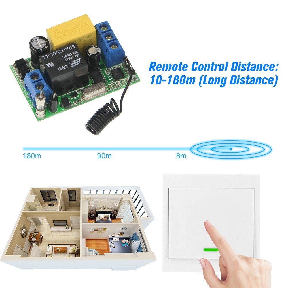 Wireless Remote Control Switch AC 220V Receiver 1 Gang 433MHz Panel Remote  Transmitter Sales Online - Tomtop