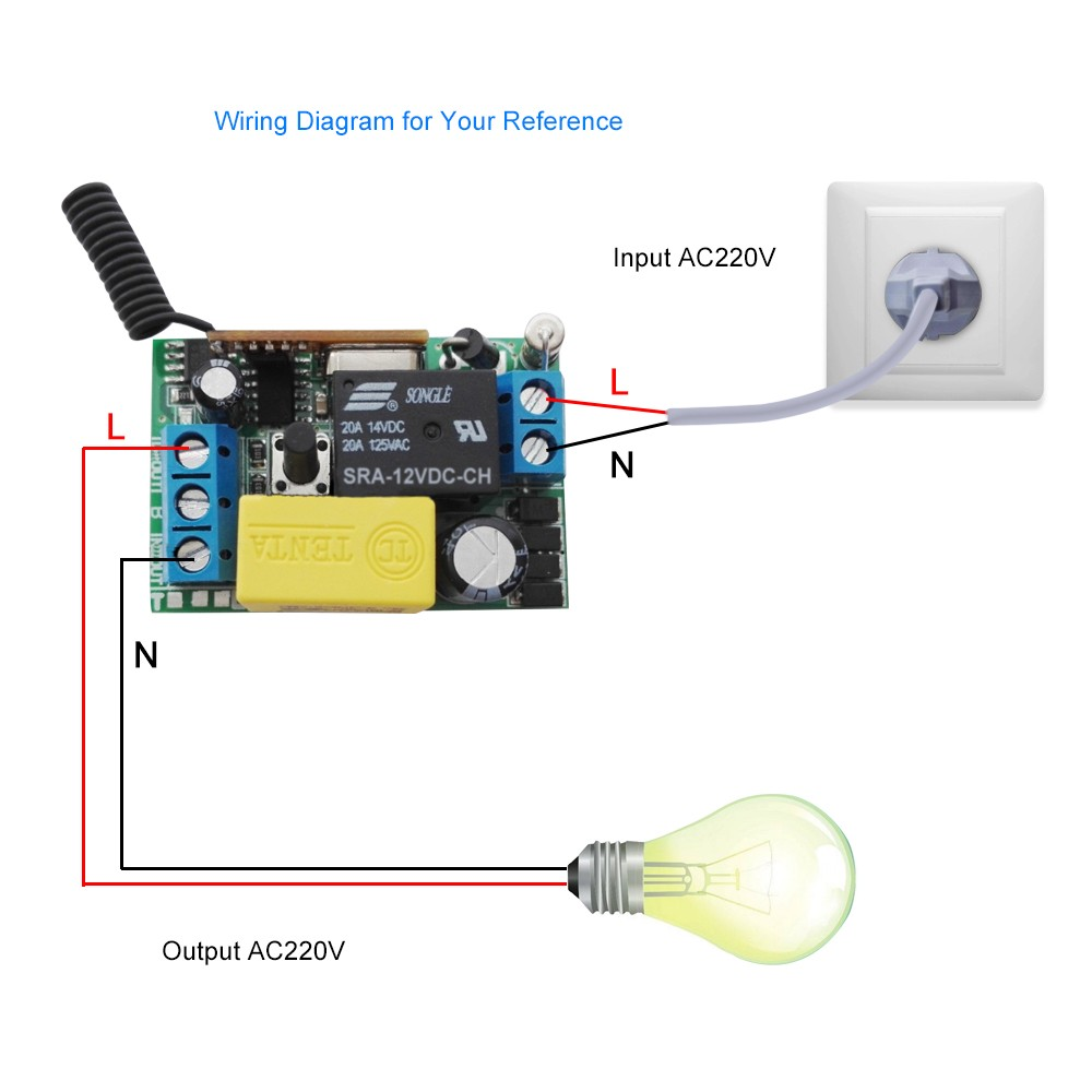 Wireless Remote Control Switch Ac 220v Receiver 1 Gang 433mhz Panel 12v Dc Wiring Diagram Transmitter