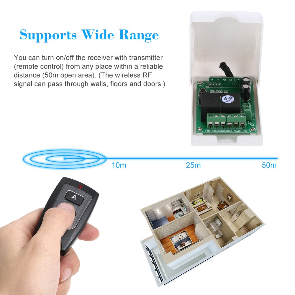 Smart Home 433mhz Rf Dc 12v 2ch Learning Code Wireless Remote Fuse Box Control Switch