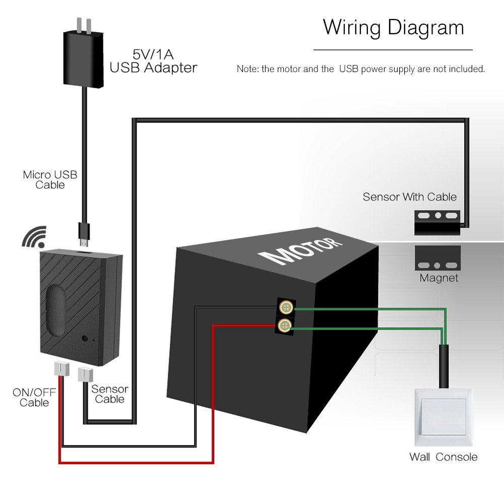 Wifi Smart Switch Garage Door Controller Compatible Wiring Diagram Supply 1 Opener Set Of Mounting Accessories Connection Cable User Manual