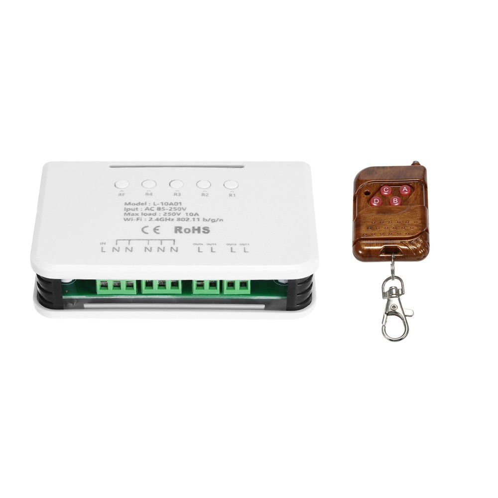 eWeLink 4CH WIFI Switch Module RF 433MHz 4 Gang Wireless Smart Switch + 1PCS 4 Button Remote Controller