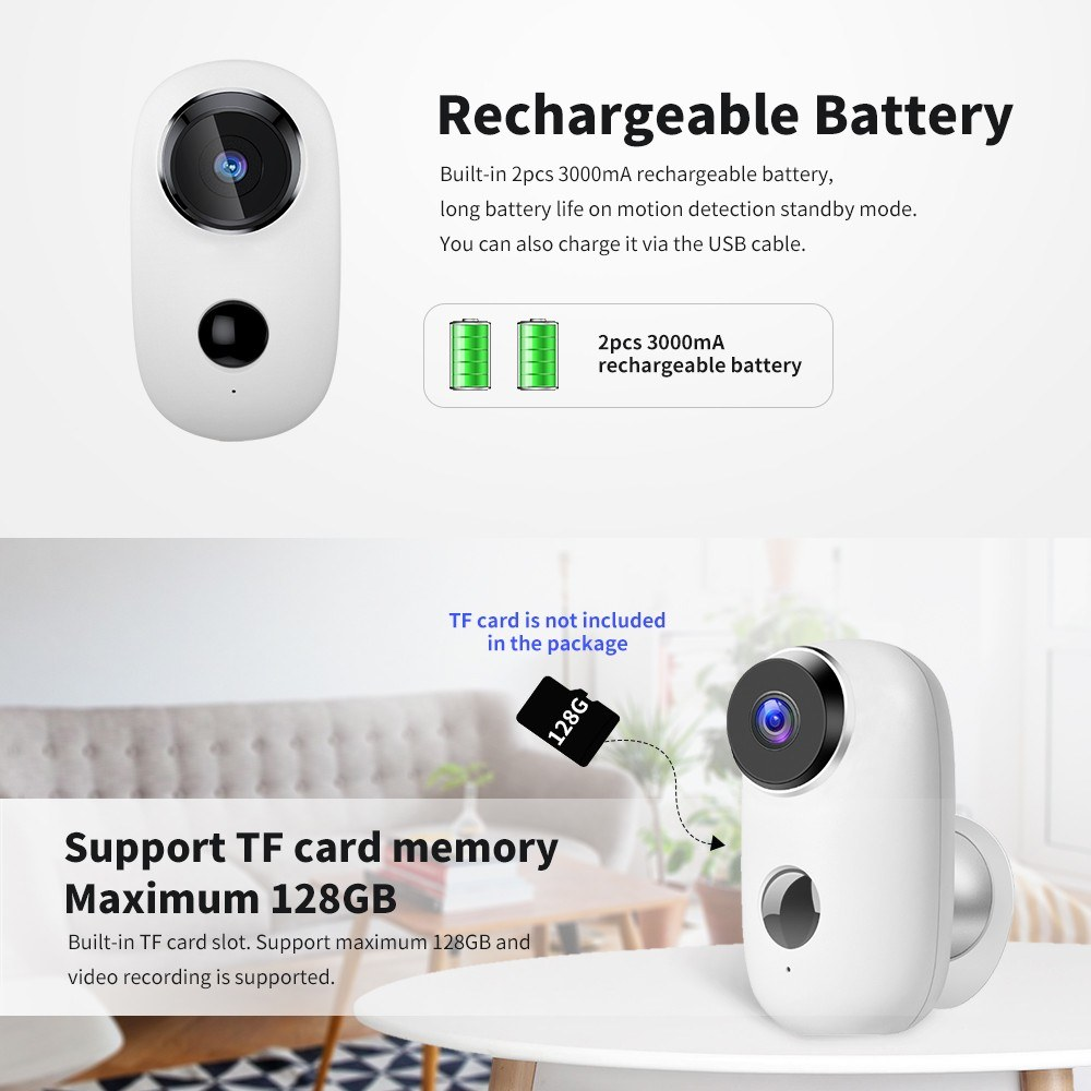 Security Camera WIFI Outdoor Battery Powered Monitor