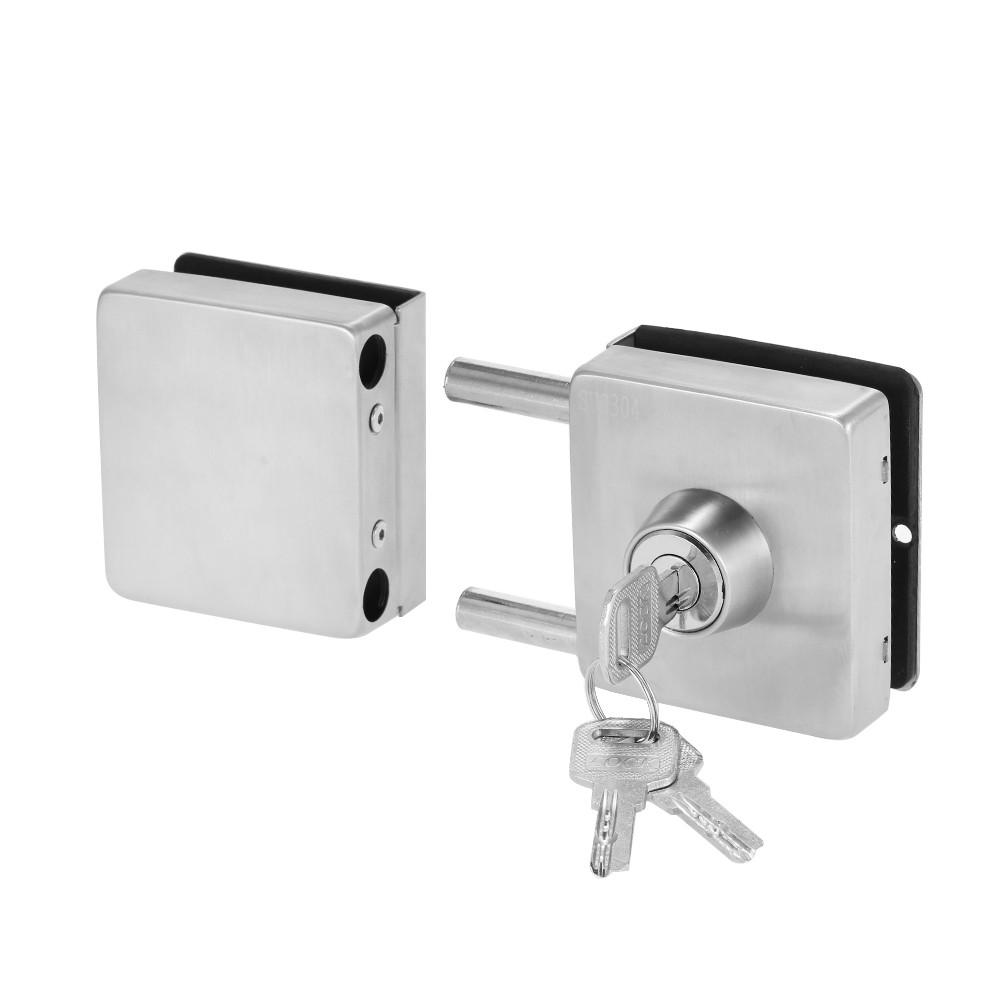 Entry Gate 10 12mm Glass Swing Push Sliding Door Lock With 3 Keys