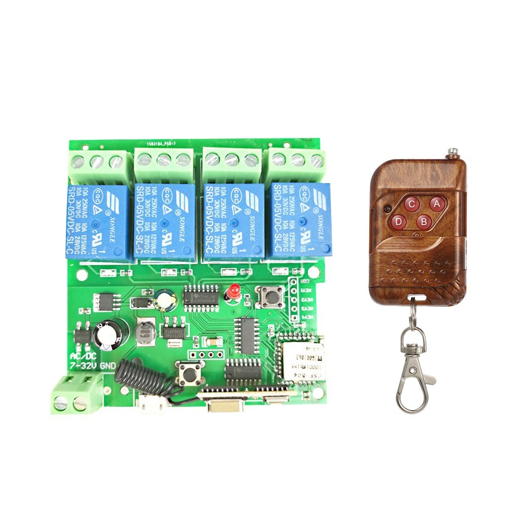 eWeLink 433Mhz Smart Remote Control Wireless Switch Universal Module 4ch DC 5V 12V 32V Wifi Switch Timer Phone APP Remote Control Support Alexa Google Home Voice Control RF433MHz Remote Controller Smart Home
