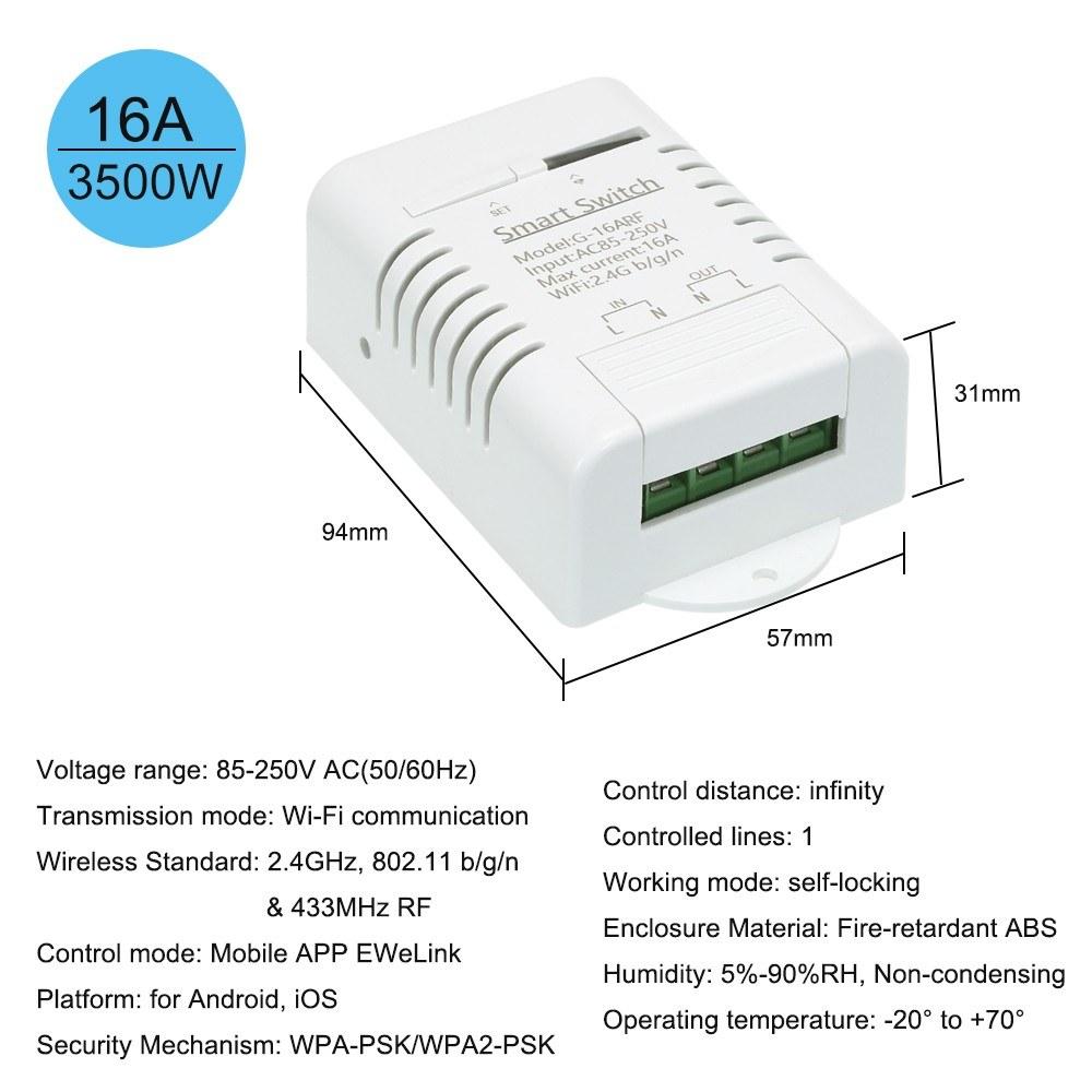 Smart Wifi Switch RF 433MHz Compatible with Sonoff & EWeLink 16A/3500W  Wireless Remote Switch Timer