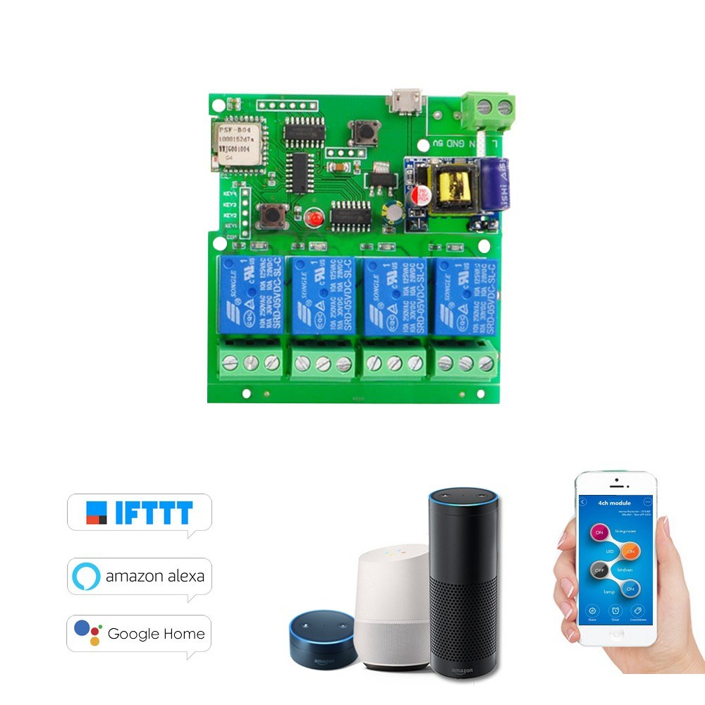 Sonoff DC5V/AC85-220V Smart Remote Control Wireless Switch Universal Module – 4ch DC 5V AC85-220V / Wifi Switch Timer/ Phone APP Remote Control /Support Alexa Google Home Voice Control / for Smart Home