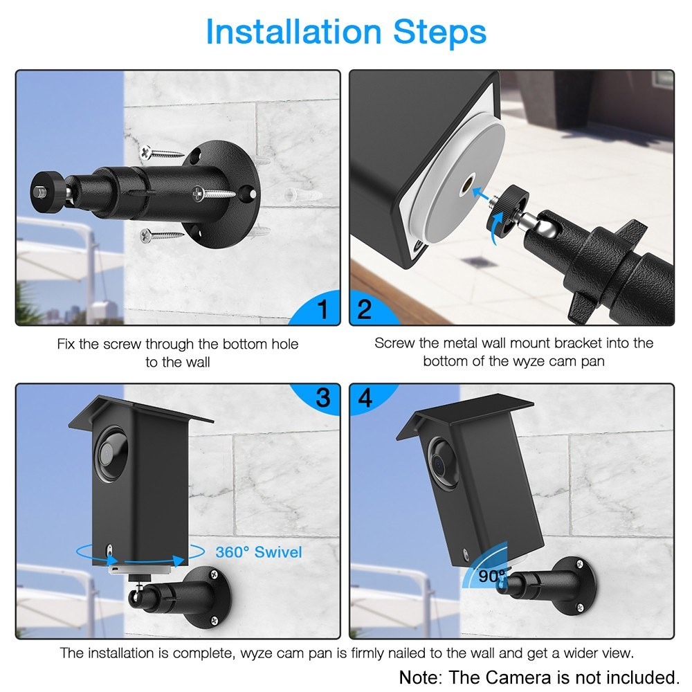Real Water Resistant Protective Case + 360 Degree Protective Adjustable  Metal Wall Mount Bracket for Wyze Cam Pan Suitable for Indoor and Outdoor  Use,