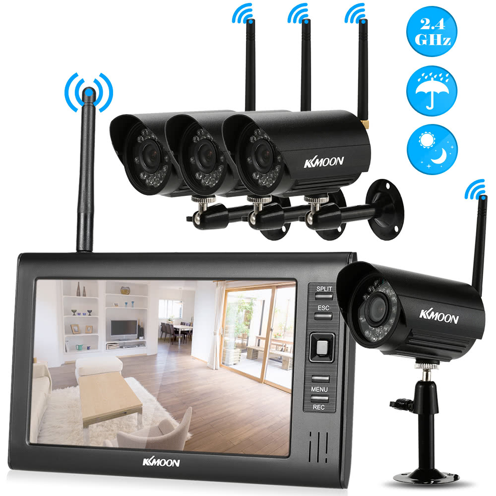 """Wireless 2.4G 4CH DVR 4 Camera with 7/""""TFT LCD Monitor Home Security System New"""