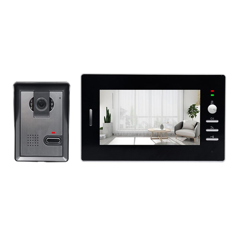 Wired Video Intercom System 7 Inch Wired Doorbell Indoor Monitor IR-CUT Rainproof Outdoor Camera Visual Two-way Intercom Audio Remote Unlock Video Door Phone