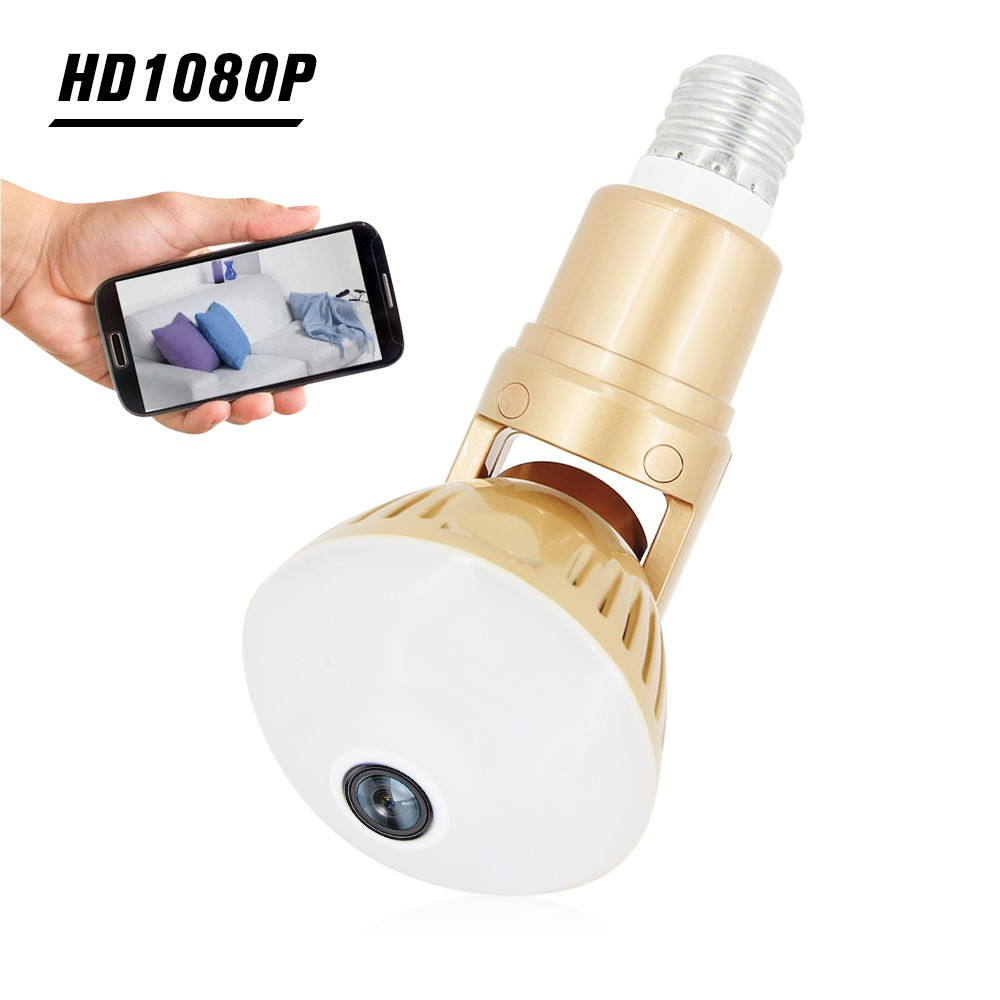 1080P 360°Panoramic WiFi 200W Bulb IP Camera