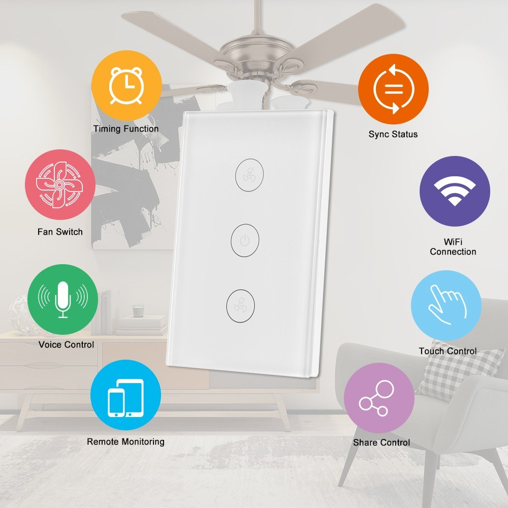 Tuya WiFi Smart Ceiling Fan Switch US/AU Smart Touch Switch Timer APP  Remote Control Speed Adjustable Compatible with Amazon Alexa, Google Home  Voice