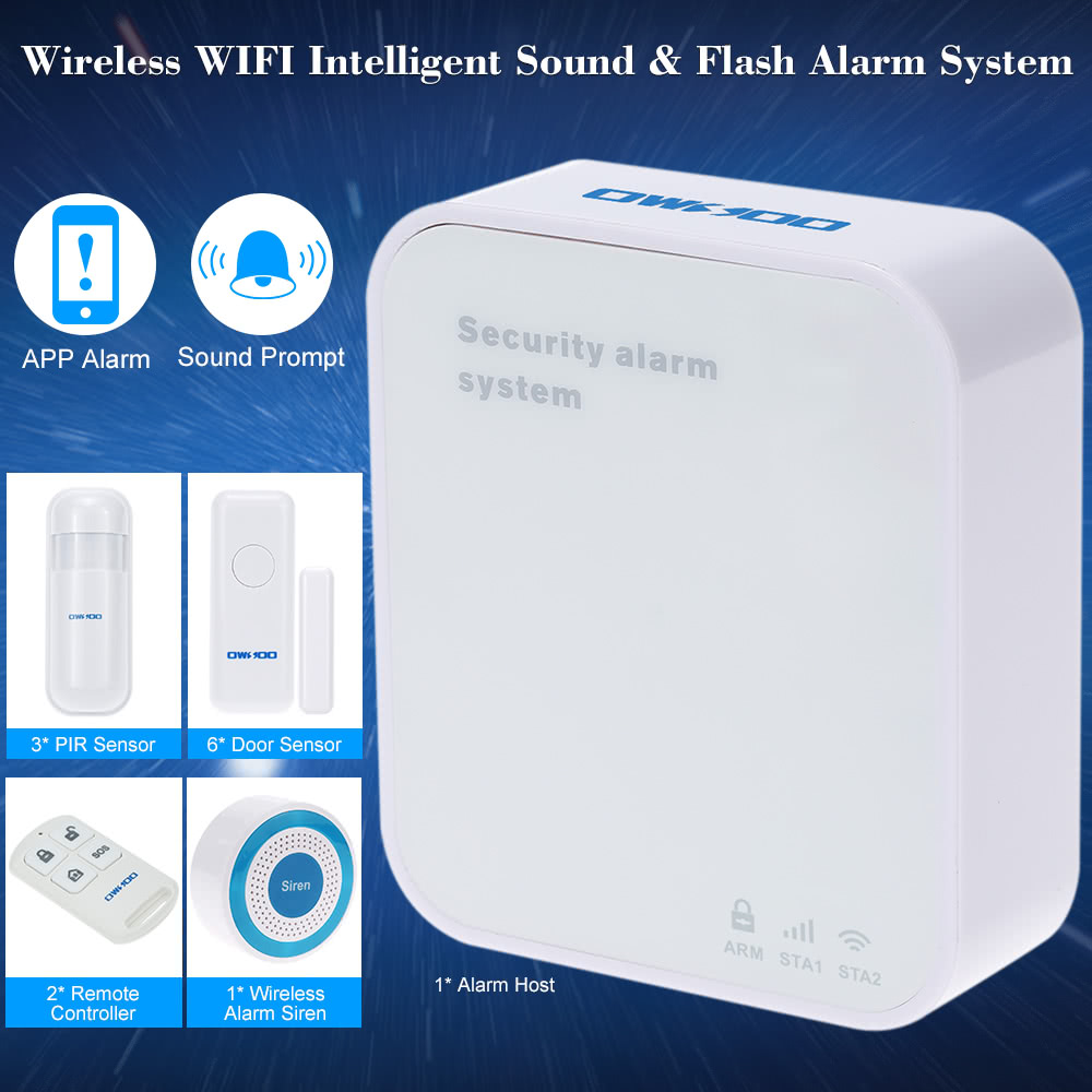 OWSOO Wireless WIFI Intelligent Sound & Flash Alarm System Siren Remote APP  Control For Home House Security System Sales Online - Tomtop