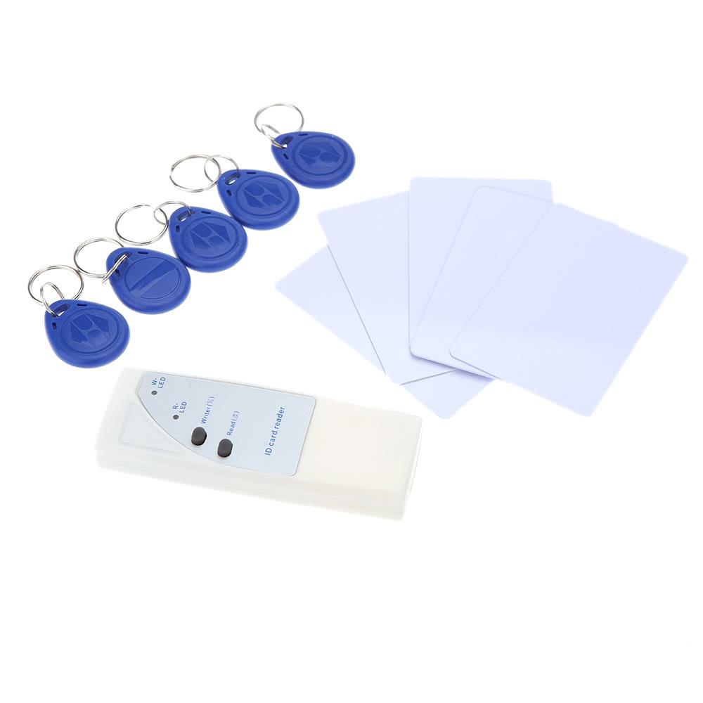 Handheld 125Khz RFID ID Card Reader Copier Writer Duplicator + 5 Writable Cards + 5 Key Fob