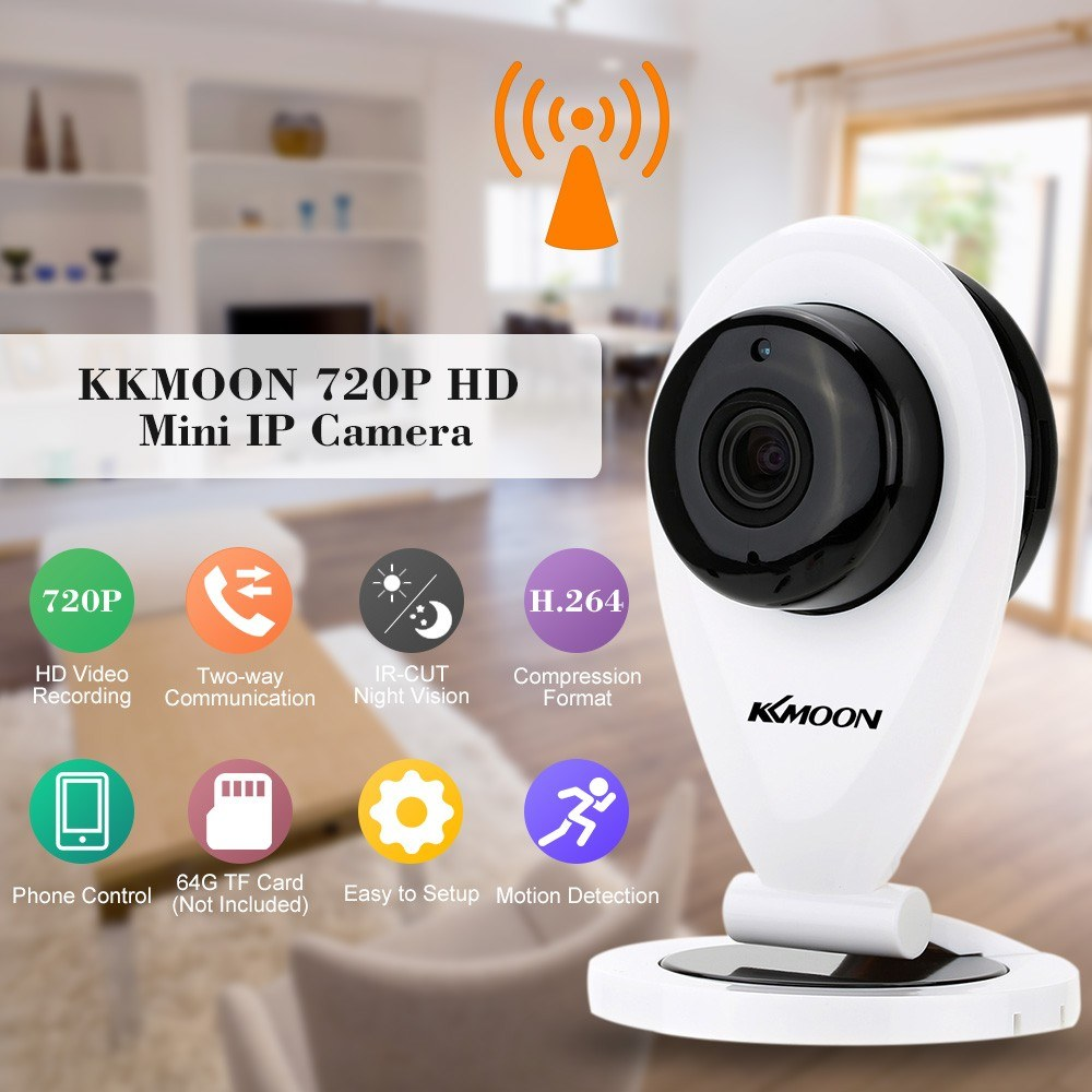Second Hand KKmoon H 264 1 0MP HD 720P Mini IP Camera P2P IR Cut WiFi  Wireless Network IP Security Camera Webcam