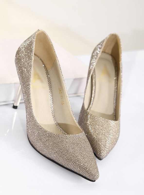 3b11b6e9f014 Fashion Women High Heels Pointed Toe Glittering Stilettos Shoes Party Pumps  Golden. Mouse over to zoom in