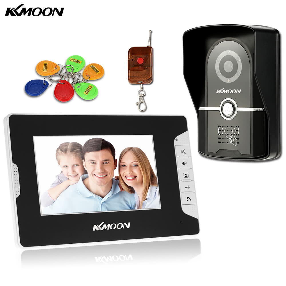 KKmoon 7u201d Wired Video Door Phone System Visual Intercom Doorbell 1*800x480 Indoor Monitor + 1*700TVL Outdoor Camera + 6*RFID Card + 1*Remote Control support ID Card/Remote Unlock Infrared Night View Rainproof Lock Time Delay Adjustable View Angels Home Surveillance