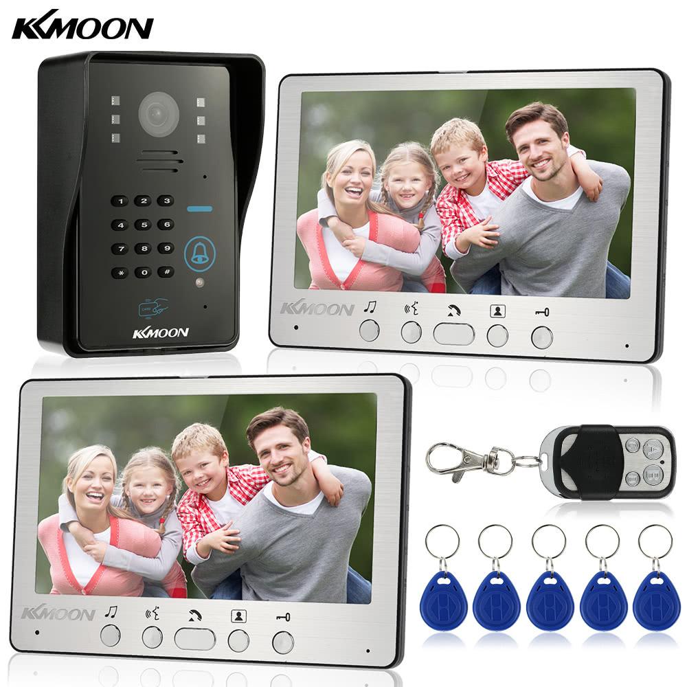 KKmoon 7u201d Wired Video Door Phone System Visual Intercom Doorbell 2*800x480 Indoor Monitor + 1*700TVL Outdoor Camera + 5*RFID Card + 1*Remote Control support ID Card/Code/Remote Unlock Infrared Night View Rainproof Home Surveillance