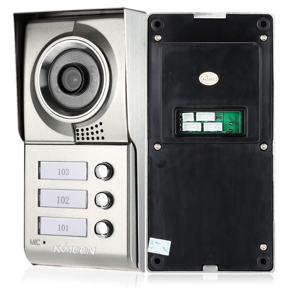 KKmoon 7u201d Wired Video Door Phone System Visual Intercom Doorbell Touch Panel 3*800x480 Indoor Monitor + 1*700TVL Outdoor Camera support Unlock Infrared Night View Rainproof Door Entry Access Control