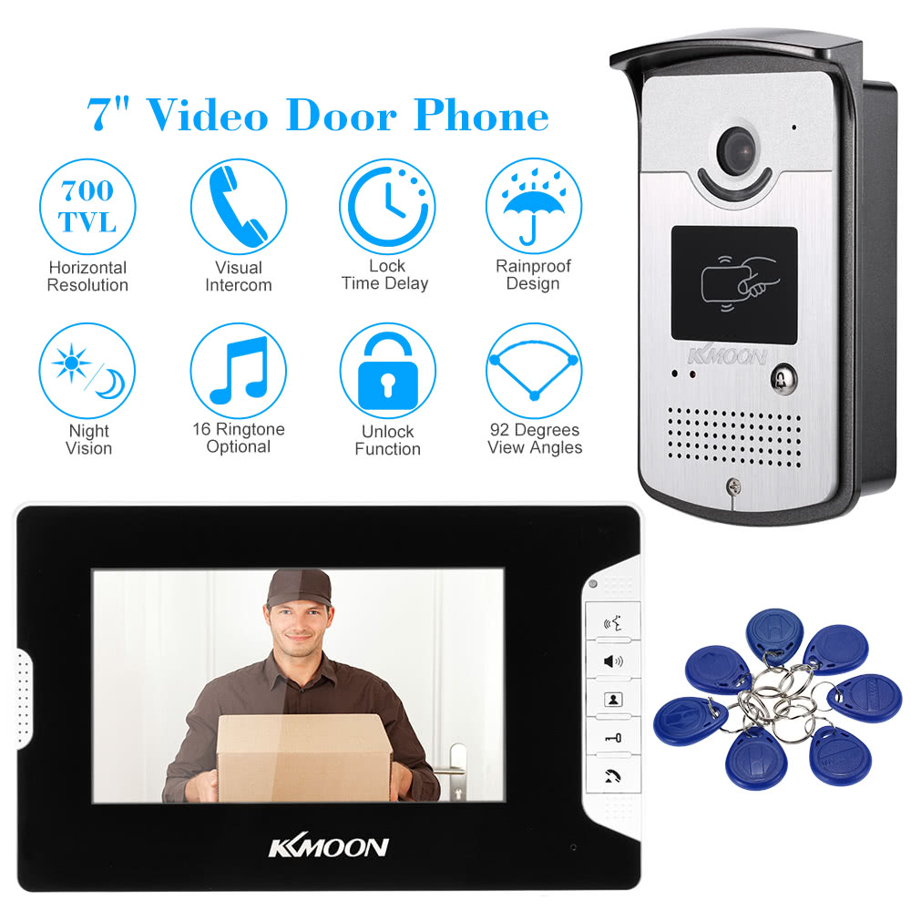 Kkmoon 7 Wired Video Door Phone System Visual Intercom Doorbell Audio Ringtone Circuit Schematic Diagram Rfid Card 1 Connection Cable 5m 2 Spared 4 Pin Lock Push Bag Of Screws User Manual English