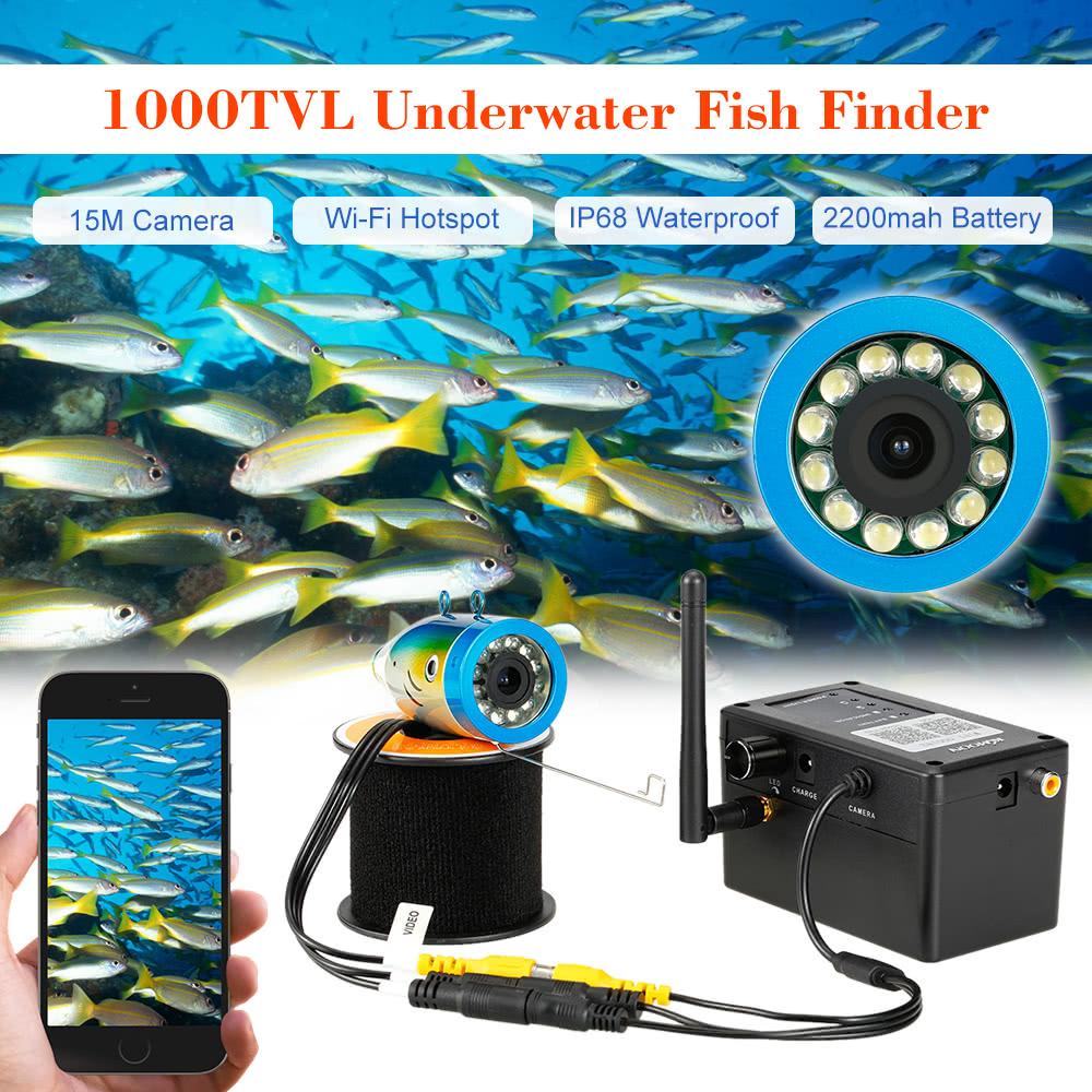 Kkmoon 1000tvl 15m wifi underwater camera fish finder for Underwater camera fishing
