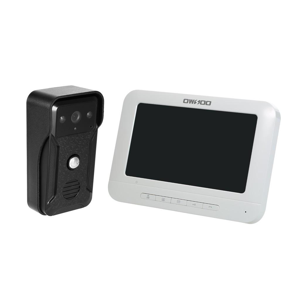 OWSOO 7 inch Wired Video Doorbell Indoor Monitor IR-CUT Rainproof Outdoor Camera Visual Two-way Intercom Audio Remote Unlock Video Door Phone