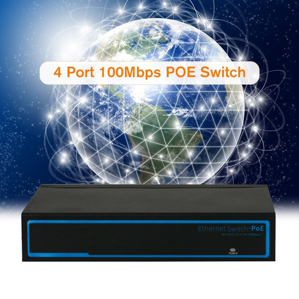 4 Port 100Mbps IEEE802 3af POE Switch/Injector Power over Ethernet for IP  Camera VoIP Phone AP devices 104POE-AF