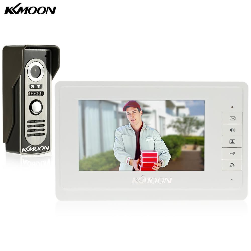 KKmoon 7u201d Wired Video Door Phone System Visual Intercom Doorbell 1*800x480 Indoor Monitor + 1*700TVL Outdoor Camera support Unlock Infrared Night View Rainproof Home Surveillance